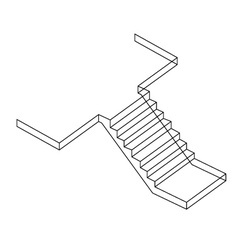 Drawing of a reinforced cement concrete stair vector