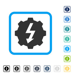 Electric gear framed icon vector
