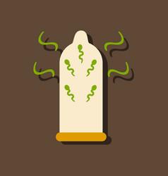 Flat icon design condom and spermatozoa in vector