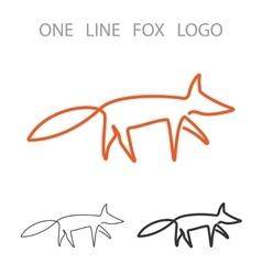 Fox one line logo minimalism style logotype vector