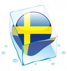 frozen button flag of sweden vector image vector image