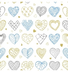 Hand drawing hearts doodle seamless pattern vector