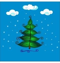 Hand drawn beautiful christmas tree vector