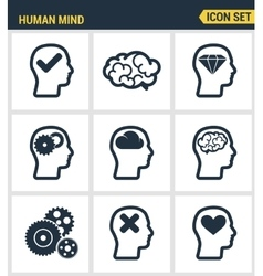 Icons set premium quality of human mind process vector image