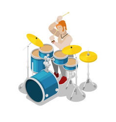 Isometric rock drummer playing on drums vector