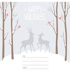 Postcard winter deer vector