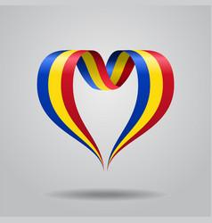 Romanian flag heart-shaped ribbon vector