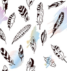 Seamless pattern with feathers and bright artistic vector image