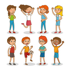 Set of happy kids cartoon vector