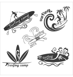 set vintage surf labels vector image