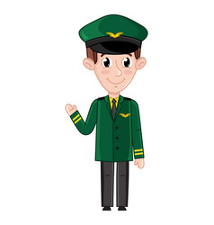 smiling boy in airplane pilot uniform vector image vector image