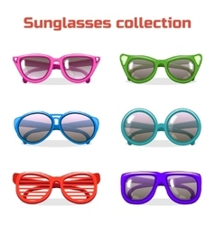 Various shapes and colors sunglasses vector image