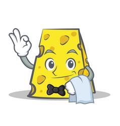 Waiter cheese character cartoon style vector