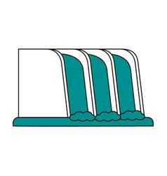 Waterfall cartoon flat vector