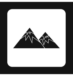 Winter mountains icon simple style vector