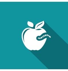 Worm-eaten apple icon vector