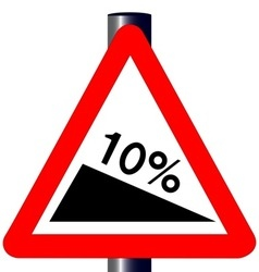 10 percent incline traffic sign vector