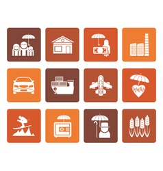 Flat different kind of insurance and risk icons vector image