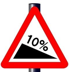 10 percent incline traffic sign vector