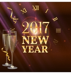 New year shining banner with a clock and champagne vector