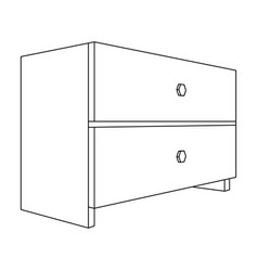 White bedside table with two drawersroom vector