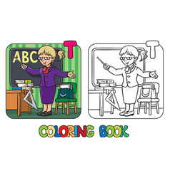 Teacher coloring book profession abc alphabet t vector