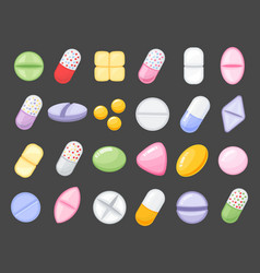 medicine cartoon pill drug table antibiotics vector image