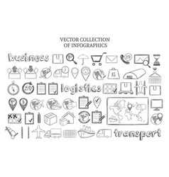 Hand drawn infographic logistic elements set vector