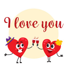 I love you - greeting card design with heart vector
