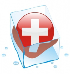 Frozen button flag of switzerland vector