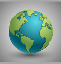 Earth globe with green continents modern 3d world vector