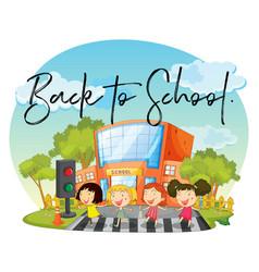 Happy children and word back to school vector