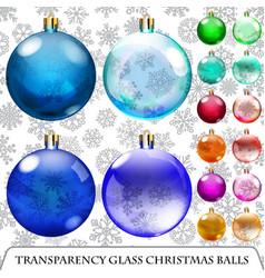 Set of transparent Christmas balls vector image