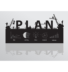 Construction site crane building plan text vector