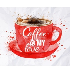 Watercolor red cup of cappuccino vector