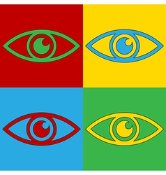 Pop art eye icons vector