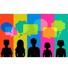 Silhouette of young people with speech bubbles vector