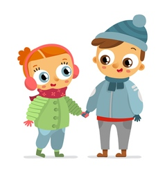Boy and girl in winter clothes isolated on white vector