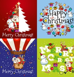 Christmas card in four designs vector
