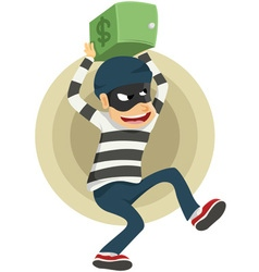 Thieves run away with safe deposit box small vector