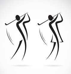 Image of an male and female golfers design vector