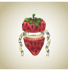 Strawberry with heraldic ribbon vector
