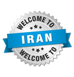 Iran 3d silver badge with blue ribbon vector