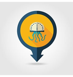 Jellyfish pin map flat icon summer vacation vector