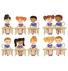 Set funny pupils sit on desks read draw clay vector