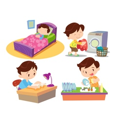 Boy working in home many action vector