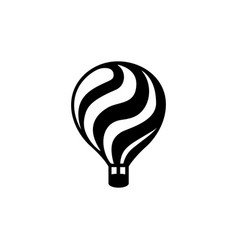 black hot air balloon icon on white background vector image