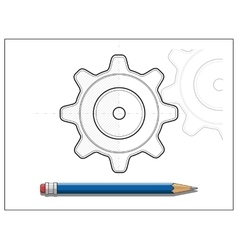 Blueprint gear and pencil vector image vector image