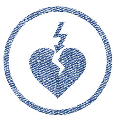 Break heart rounded fabric textured icon vector