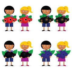 Children holding berries fruit vector